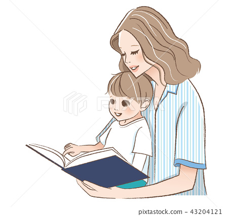 Illustration of mother and child reading a picture book 43204121