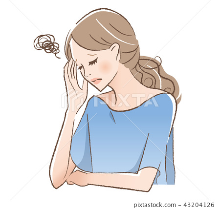Illustration of a woman holding her head 43204126