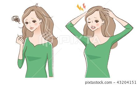 婦女的例證擔心頭髮 43204151