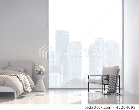 Minimal white bedroom with city view 3d render 43204695