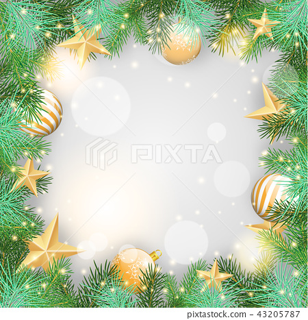 Christmas background, yellow ornaments and needles 43205787