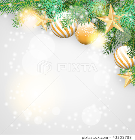 Christmas theme, branches and golden ornaments 43205788