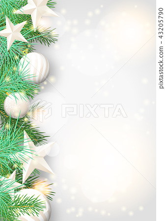 Christmas background with white ornaments 43205790