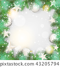 Christmas background with green branches 43205794