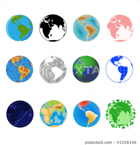 Earth planet vector global world universe and worldwide universal globe illustration worldly set of 43208166