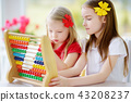 Two cute little girls playing with abacus at home 43208237