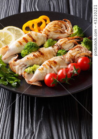 Portion of grilled squid with fresh vegetables 43210221