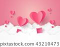 Hot air balloon in a heart shape flying on sky 43210473