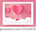 Hot air balloons in a heart shape flying out of fr 43210476