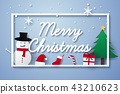 Merry Christmas , lettering with snowman 43210623
