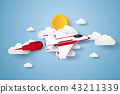 Airplane flying in the sky , paper art style 43211339