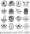 Set of baseball and tennis club badge. Vector illustration. Concept for shirt or logo, print, stamp 43211865
