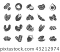 Nuts, seeds and beans icon set. 43212974