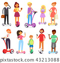 People on hoverboard vector character on segway and businessman on gyroscooter illustration set of 43213088