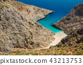 Secret beach on remote island. Rizoskloko, Crete, Greece. Seitan Limani 43213753