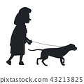Dog Guide Silhouette Old Woman Holding Pet Vector 43213825