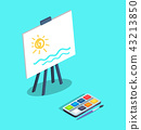Easel with White Canvas and Paints Brush Vector 43213850