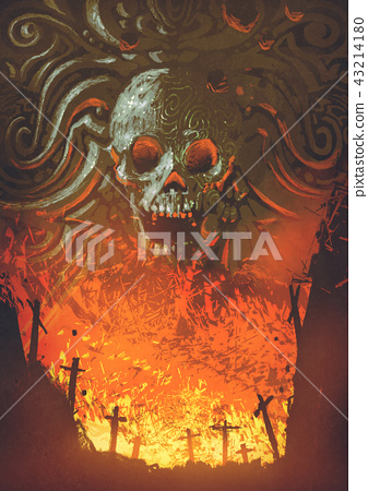 burning graveyard in the skull cave 43214180