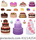 Collection of Tasty Cakes on Vector Illustration 43214254