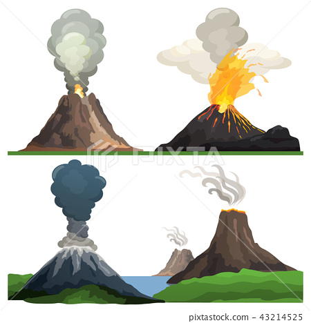 Volcano Eruption on Vector Illustration White 43214525