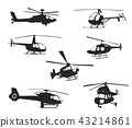 Collection of silhouettes of various helicopter 43214861