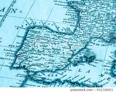 Old Map Iberia Peninsula - Stock Photo [43216001] - PIXTA