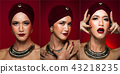 Asian tanned skin woman with strong color red lips 43218235
