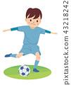 Soccer boy shoot 43218242