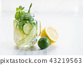 Refreshing summer drink with lemon and mint 43219563