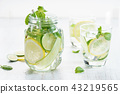 Refreshing summer drink with lemon and mint 43219565