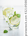 Refreshing summer drink with lemon and mint 43219566