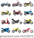 Motorcycle vector motorbike and motoring cycle ride transport chopper illustration motorcycling set 43220075