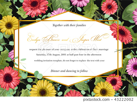 Template vector watercolor floral invitation of - Stock ...