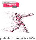 Baseball player - color dot illustration on the white background. 43223459