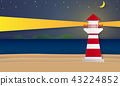 Sea and beach with lighthouse at night 43224852