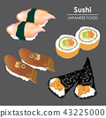 Sushi roll Food Japanese menu rice seafood Vector 43225000