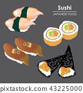 Sushi roll Food Japanese menu rice seafood Vector 43225000