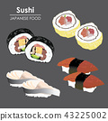 Sushi roll Food Japanese menu rice seafood Vector 43225002