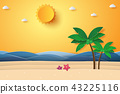 Summer time , sea with beach and coconut tree 43225116