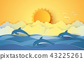 Summer time , sea with dolphins and sun 43225261