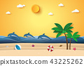 Summer time , sea with dolphins and beach 43225262