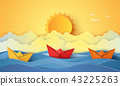 Summer time , sea with origami boat and sun 43225263