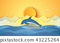 Summer time , sea with dolphin and sun 43225264