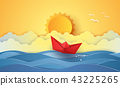Summer time , sea with origami boat and sun 43225265