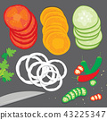 Vegetable food piece slice cartoon Vector 43225347