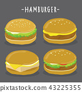 Hamburger Characters Fast Food Vector  43225355