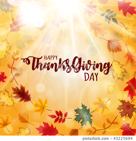 Abstract Vector Illustration Happy Thanksgiving Day Background with Falling Autumn Leaves 43225694