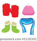 Gloves Hat Boots Scarf Cartoon Vector 43226302