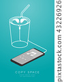 Smartphone black color and Earphones in ear type 43226926