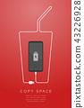 Smartphone black color flat design, beverage glass 43226928